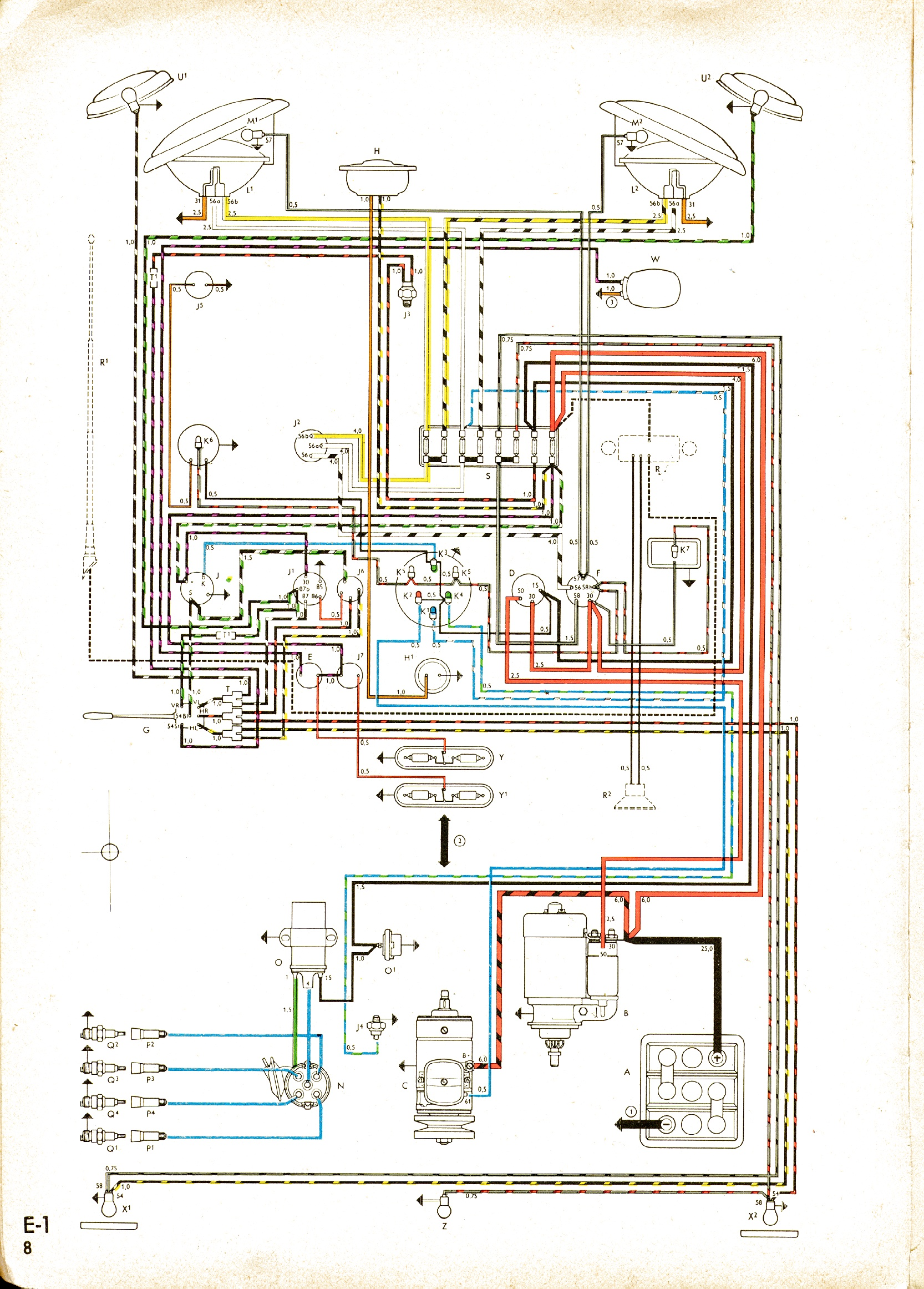 Check out the wiring diagram at http://vintagebus.com/wiring/bus-62-usa.jpg
