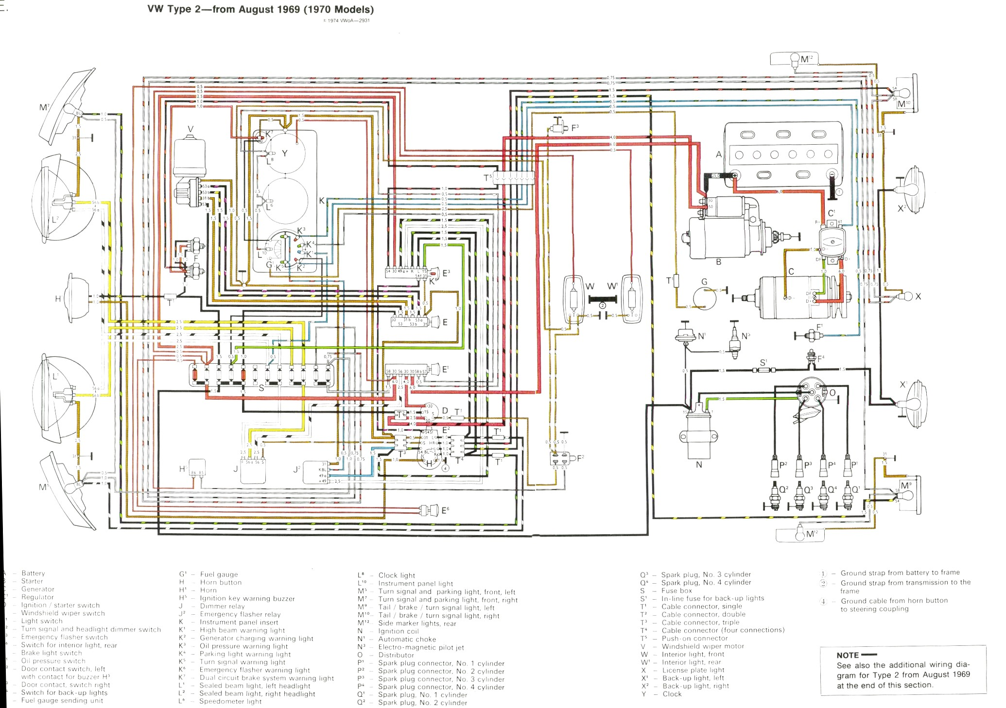 70 Series Fuse Box Diagram Wiring Library Headlight Dimmer Switch August 1969 1970 Models 411 937 505a Note The Fusebox