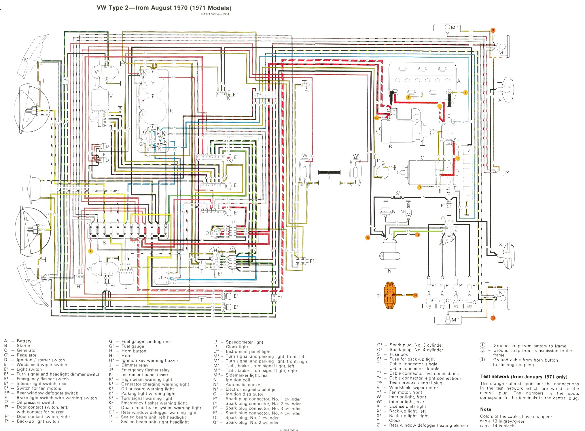 VW Baywindow Bus - Fusebox Layout | 1979 Vw Transporter Wiring Diagram |  | RAtwell
